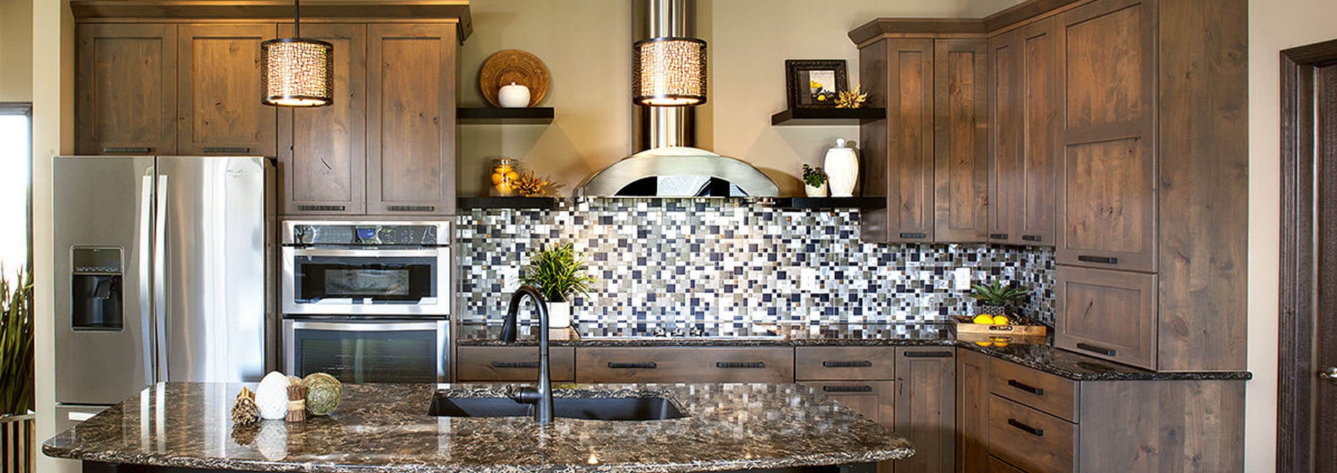 wood kitchen cabinets with colorful backsplash